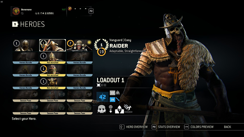 For Honor hero selection screen