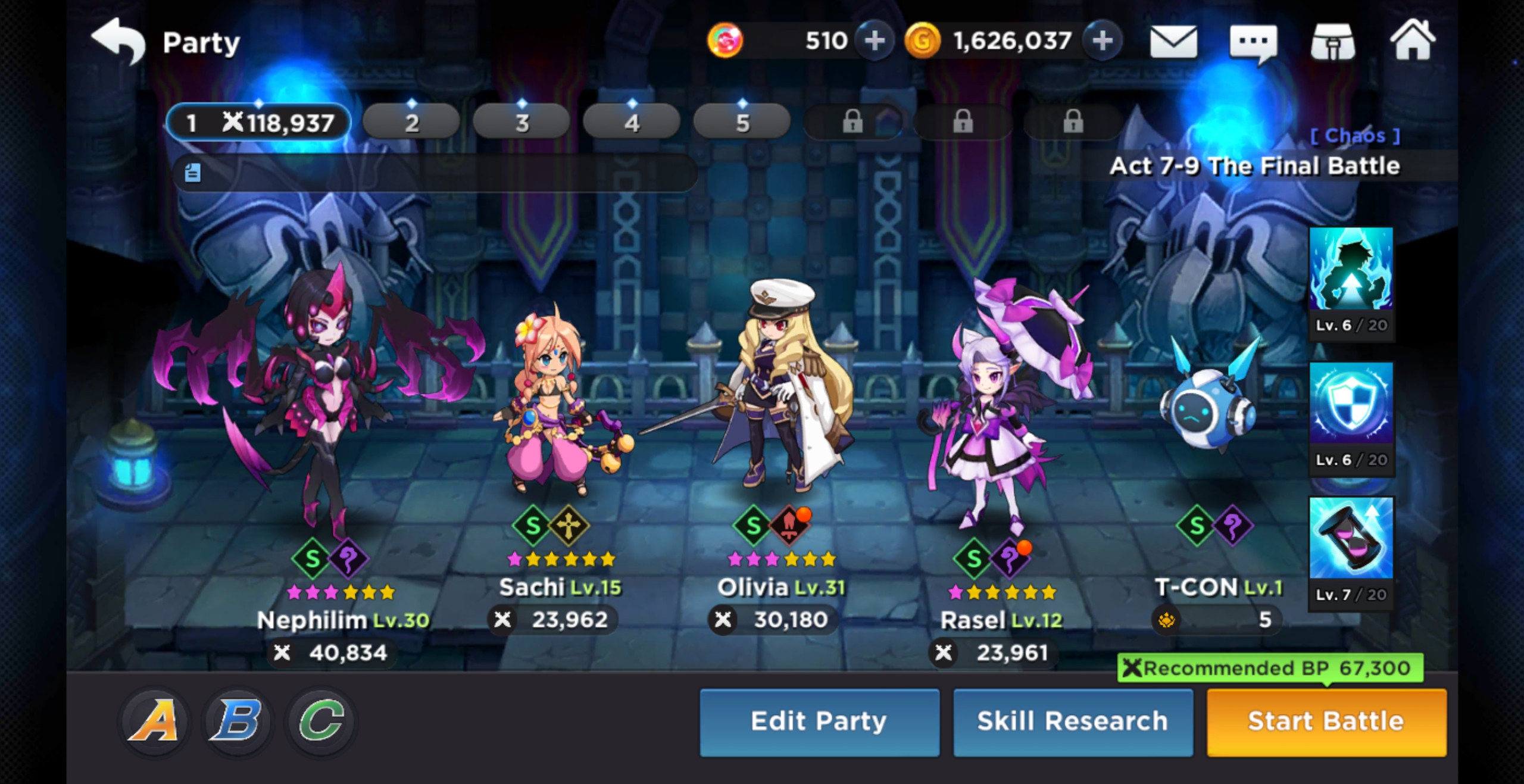 GrandChase Party selection
