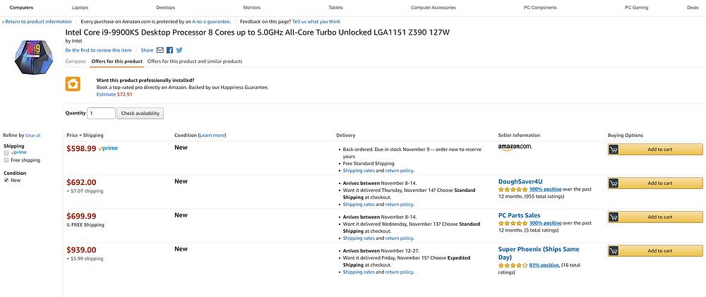Amazon i9-9900KS CPU Listing