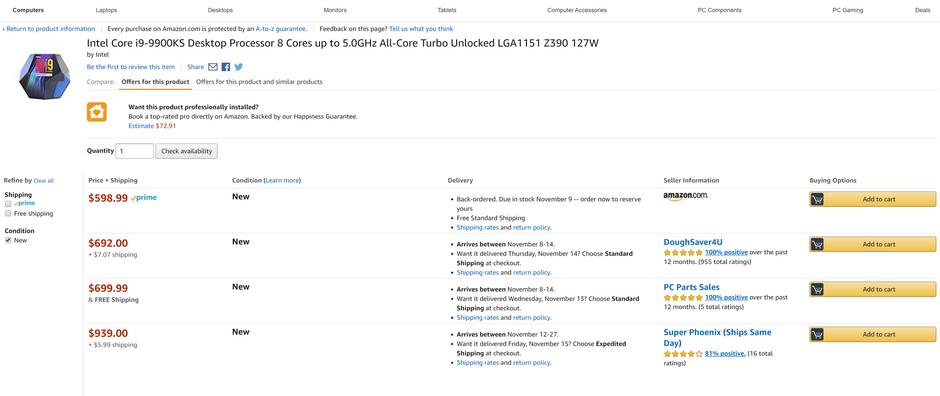 Intel i9 9900KS shows up on Amazon & Ebay