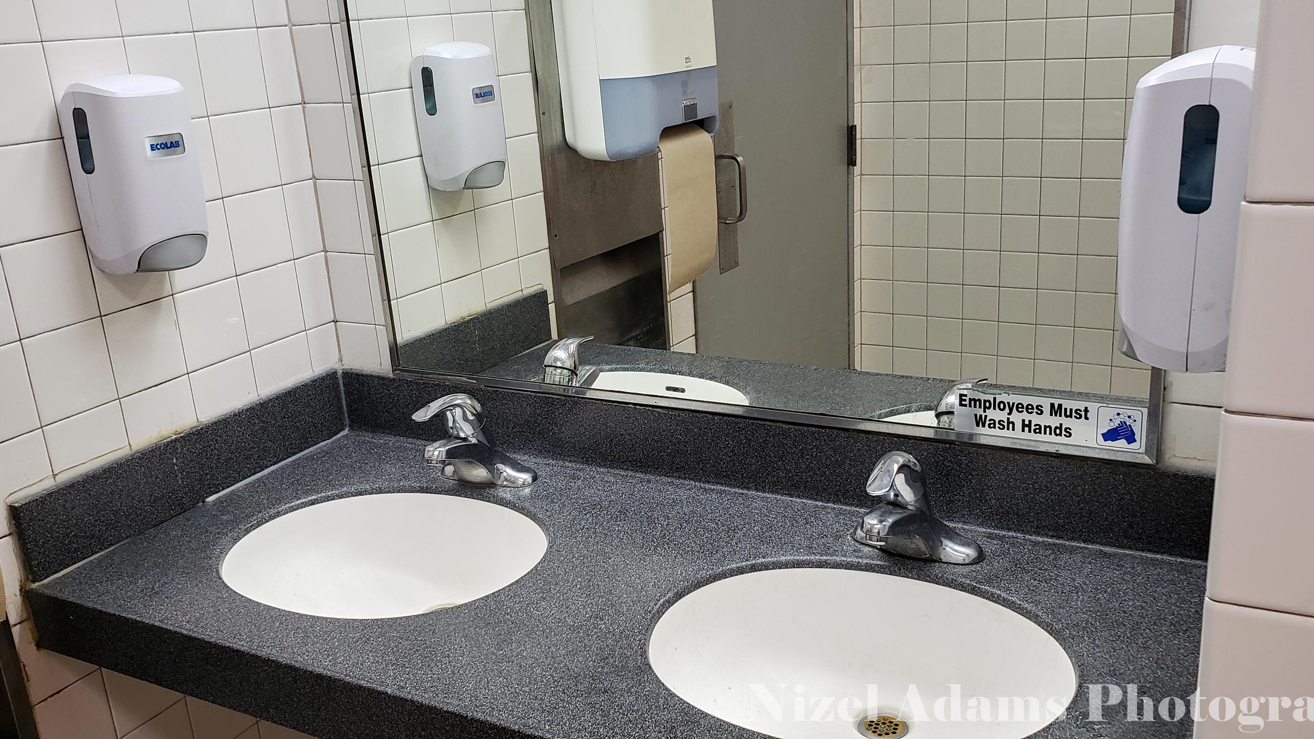 Men's Bathroom Sinks at Steak n' Shake Aurora, Illinois
