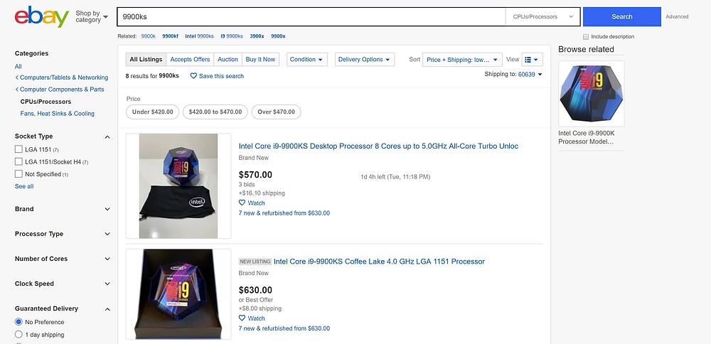 Ebay i9-9900KS CPU Listing