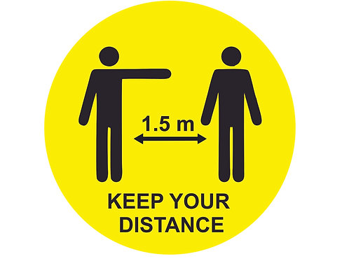 Sticker geel rond keep your distance 30cm