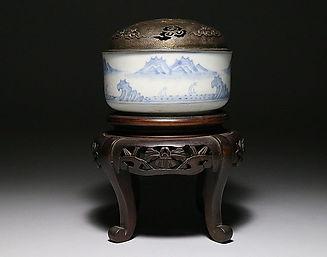 李朝分院染付山水図香炉