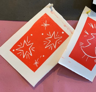 Lino Print + Collage Christmas Card Making! Adult Pop-Up Classes