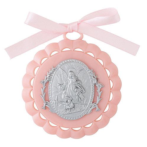 Medallon Bautizo rosa - 5450