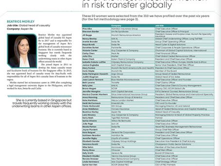 Intelligent Insurer honours 50 most influential women in risk transfer globally
