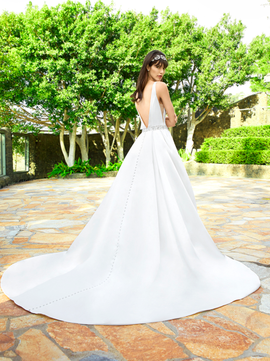 Style J6503  SIZES 2-28  FABRIC Satin  SHOWN IN Ivory  AVAILABLE COLORS Ivory, White