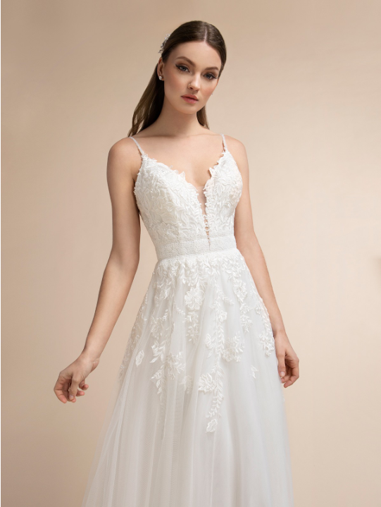 Style T912  SIZES 2-28  FABRIC Venise lace and Embroidered lace  SHOWN IN Ivory  AVAILABLE COLORS Ivory