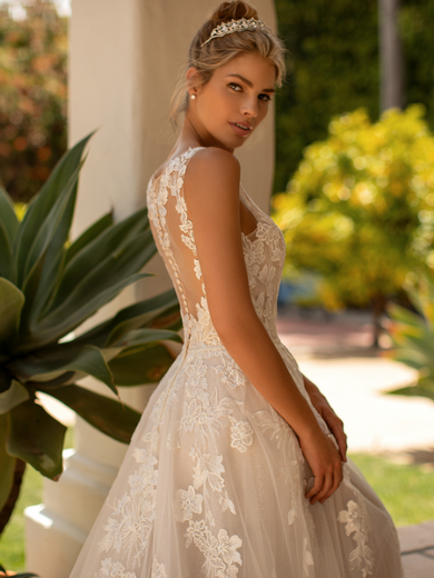 Style J6779  SIZES 2-28  FABRIC Net/Shimmer net  SHOWN IN Ivory / Taupe / Rose  AVAILABLE COLORS Ivory/Taupe/Rose, Ivory/Ivory/Ivory, White/White/White