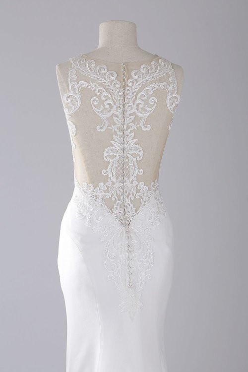 Handa - OJ1703   Sample Color: Ivory / Ivory  Fabric: Satin ( CT6072 ) / PG  Silhouette: Sheath  Neckline: Bateau  Straps/Sleeves: Tank  Embellishment: Beaded Lace  Closure: Back Zipper