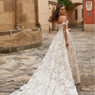 Style J6818  SIZES 02-20, 22W-28W FABRIC Floral embroidered net with sequin/Sparkle net SHOWN IN Ivory / Latte AVAILABLE COLORS Ivory / Latte, Ivory / Ivory