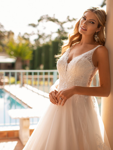 Style J6800  SIZES 2-28  FABRIC Net  SHOWN IN Ivory / Taupe / Rose  AVAILABLE COLORS Ivory/ Taupe/ Rose, Ivory/ Ivory/ Ivory, White/ White/ White