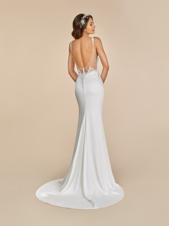 Style T884  SIZES 2-28  FABRIC Crepe back satin  SHOWN IN Ivory / Rose  AVAILABLE COLORS Ivory/Rose, Ivory/Ivory