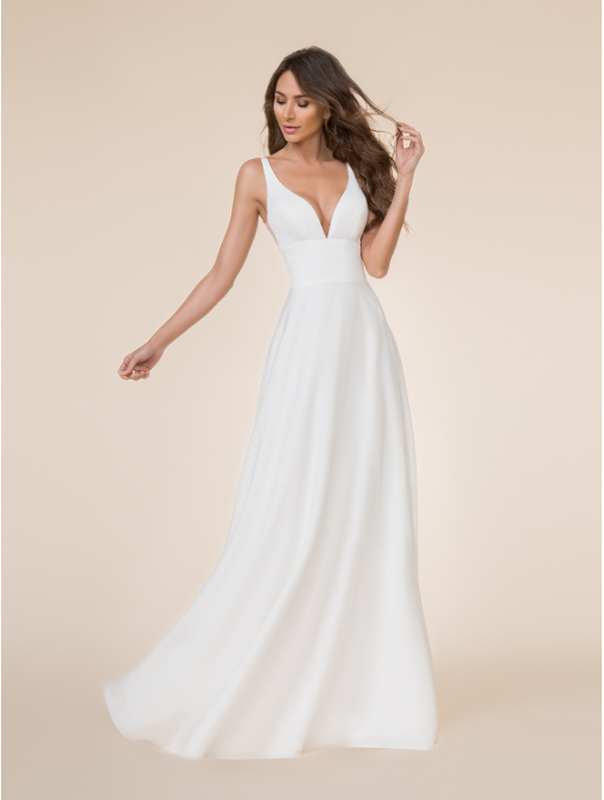 Style T864  SIZES 2-28  FABRIC Crepe back satin  SHOWN IN Ivory  AVAILABLE COLORS Ivory
