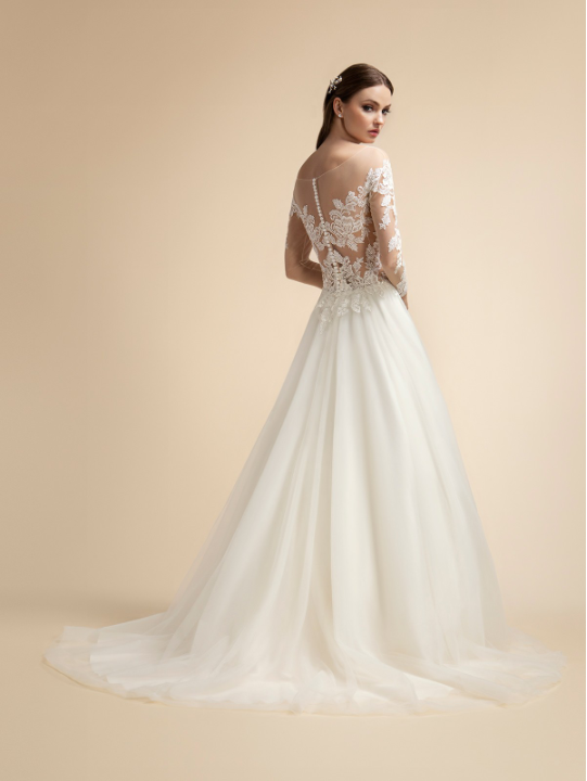 Style T914  SIZES 2-28  FABRIC Tulle/ Rose net  SHOWN IN Ivory / Rose  AVAILABLE COLORS Ivory/ Rose, Ivory/ Ivory, White/ White