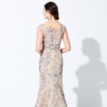 Style: 220D23  COLOR: Beige/Multi  SIZES: 4 - 20, 16W - 26W  DESCRIPTION DETAILS Cap sleeve novelty lace fit and flare gown with a deep v-neck, beaded belt detail at the natural waist, Illusion back, horsehair hem, sweep train, and stone accents throughout. Shawl Included