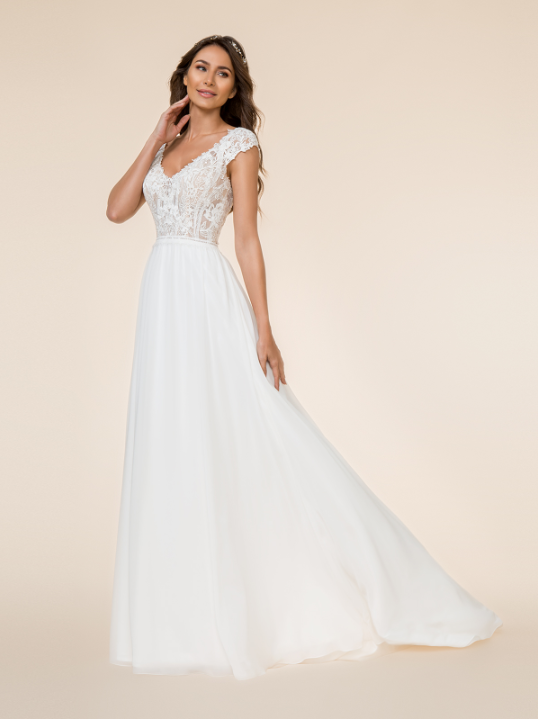 Style T865  SIZES 2-28  FABRIC Chiffon  SHOWN IN Ivory / Rose / Gold  AVAILABLE COLORS Ivory/Rose/Gold, Ivory/Ivory/Ivory, White/White/White