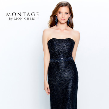 STYLE 120902  Montage  COLOR: Bronze, Champagne, Navy Blue  SIZES: 4 - 20, 16W - 26W  DESCRIPTION DETAILS Strapless crinkle novelty stretch gown, straight neckline, beaded natural waistline, trumpet skirt with sweep train. Detachable straps and matching crinkle novelty stretch shawl included.