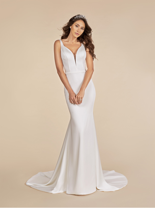 Style T881  SIZES 2-28  FABRIC Crepe back satin  SHOWN IN Ivory  AVAILABLE COLORS Ivory