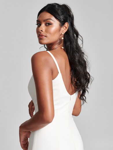 Style: Louisa   Cut from Spanish stretch Crepe, the Louisa gown is modern and minimal. With a scoop neckline and fit-to-flare skirt silhouette, it's great worn alone or paired with one of our Lace toppers. Lined in stretch fabric and crafted with soft bra cups.  Available sizes: 00-30