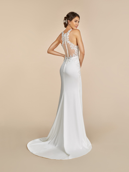 Style T893  SIZES 2-28  FABRIC Crepe back satin/Net  SHOWN IN Ivory  AVAILABLE COLORS Ivory