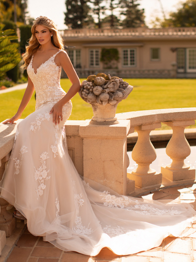 Style J6796  SIZES 2-28  FABRIC Net  SHOWN IN Ivory / Cashmere  AVAILABLE COLORS Ivory/ Cashmere, Ivory/ Ivory, White/ White