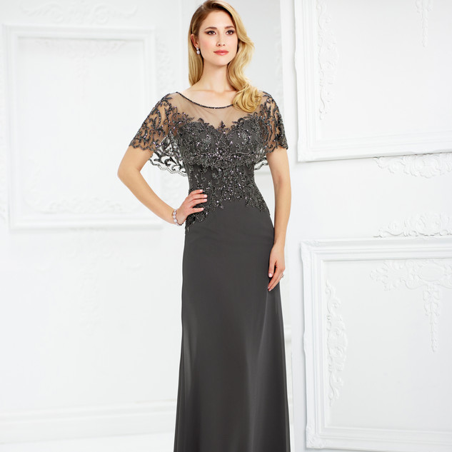 Style: 217947  COLOR: Blue Willow, Dark Gray   SIZES: 4 - 20  DESCRIPTION DETAILS Chiffon slim A-line gown features an attached hand-beaded scalloped illusion capelet creating short sleeves, illusion bateau neckline over beaded sweetheart bodice, beaded illusion back, sweep train.