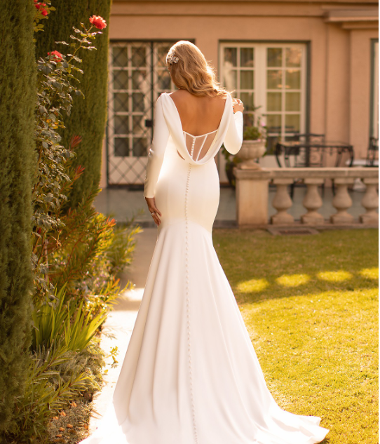 Style J6791  SIZES 2-28  FABRIC Crepe Back Satin  SHOWN IN Ivory  AVAILABLE COLORS Ivory