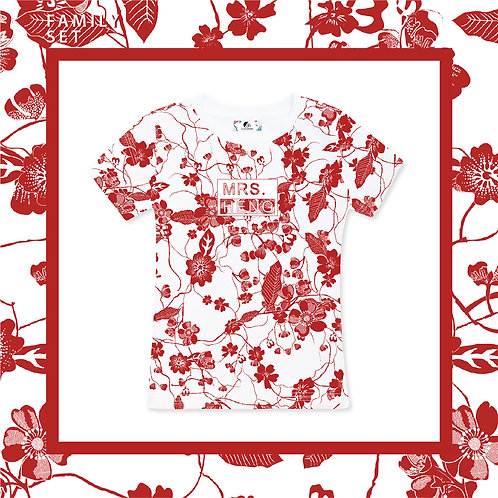 Red & White Porcelain Adult T-Shirt