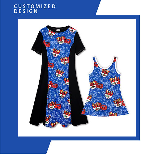 Blue Diamond Merlion Dance - Dresses for Mama & Daughter