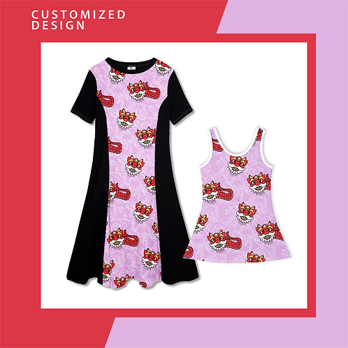 Purple Pink Merlion Dance -  Dresses for Mama & Daughter