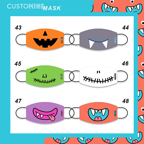 Halloween - Personalized Cloth Face Mask (Pack of 2 / Pack of 3)