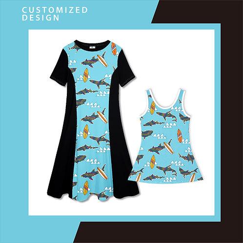 Ocean Doo Doo Rainbow Shark - Dresses for Mama & Daughter