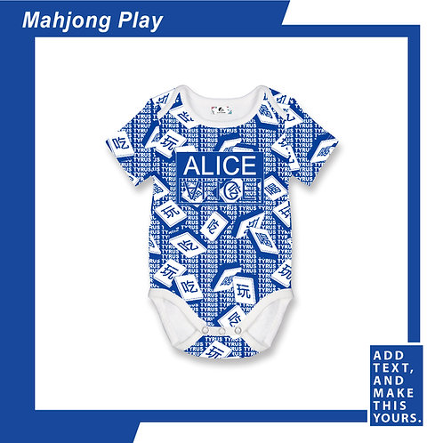 Mahjong Play - Romper - Blue