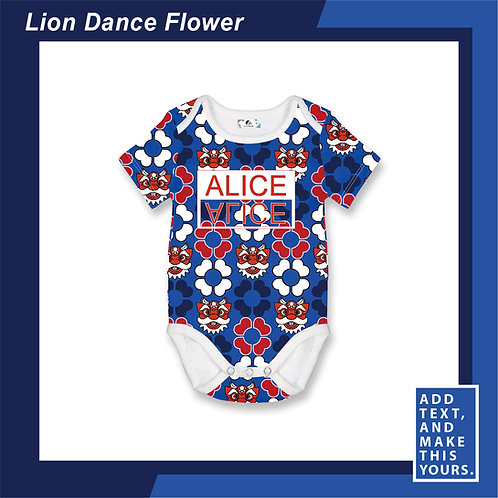 Lion Dance Flower - Romper - Blue