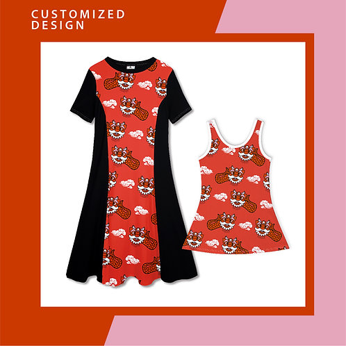 Ang Ang Merlion Dance (red) - Dresses for Mama & Daughter