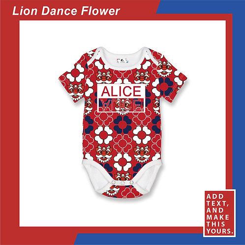 Lion Dance Flower - Romper - Red