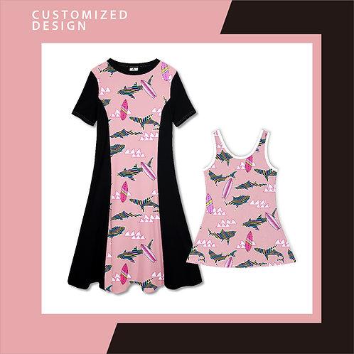 Pink Doo Doo Rainbow Shark - Dresses for Mama & Daughter