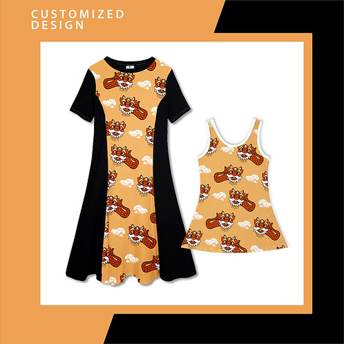 Ang Ang Merlion Dance (orange)  - Dresses for Mama & Daughter