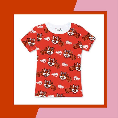 Ang Ang Merlion Dance - Red Adult T-shirt