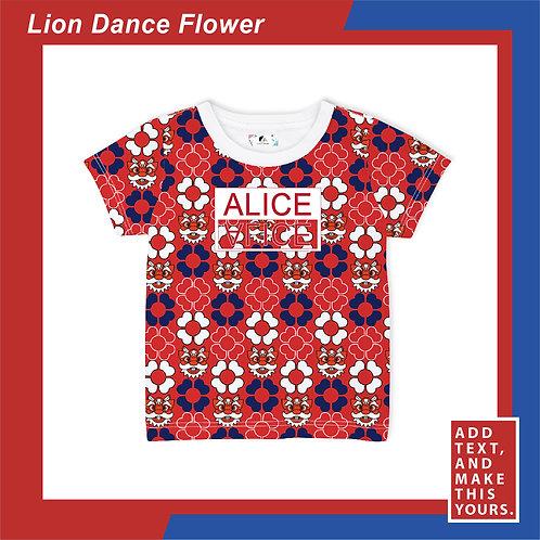 Lion Dance Flower - T-shirt (Kid)  - Red