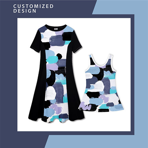 Blue Pastel Paint  - Dresses for Mama & Daughter