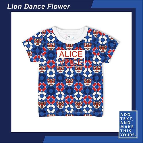Lion Dance Flower - T-shirt (Kid)  - Blue