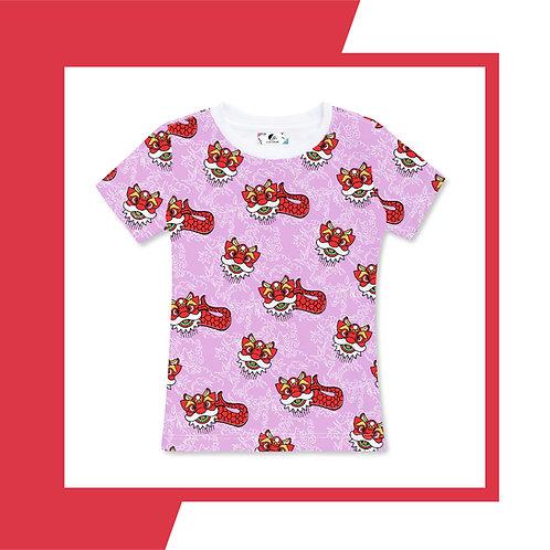 Purple Pink Merlion Dance - Adult T-shirt