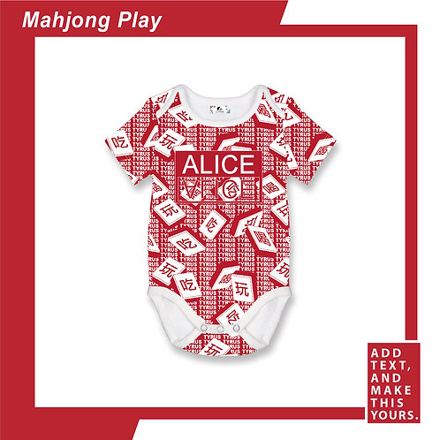 Mahjong Play - Romper - Red