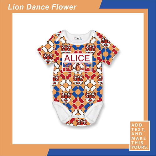 Lion Dance Flower - Romper - Orange