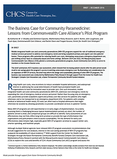 A link to a paper making the business case for community paramedicine.