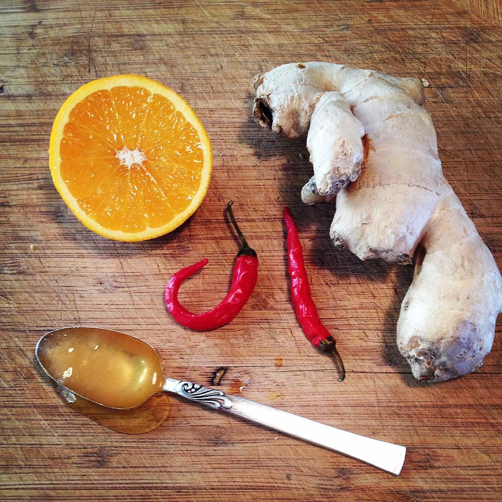 Orange, Ginger, Cayenne and Honey Warming Beverage