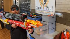 Fr. David poses with nerf gun